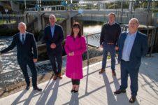 L-R - Paddy Harney (Charles Brand), Niall McGill (Charles Brand), Minister Nicola Mallon, Owen McGivern (DFi Rivers) Alan Vennard (Atkins)
